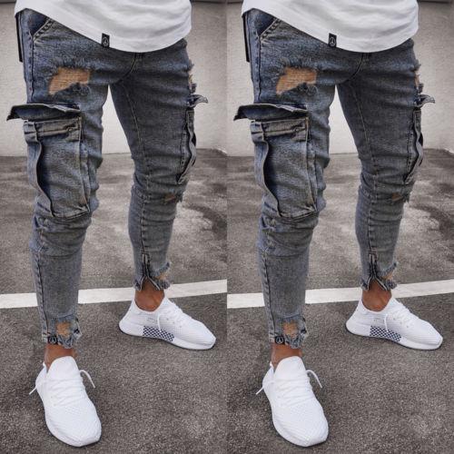 Color Gray Blue Fashion Men's Ripped Skinny Biker Jeans Frayed Slim Fit Long Denim Pants Hole Biker Jeans