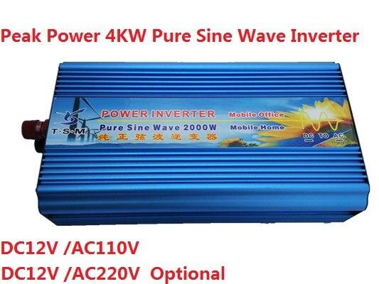 цена на digital display 2000W peak power 4000W DC12v/24v input to AC110v/220V output Pure Sine Wave Solar Power Inverter
