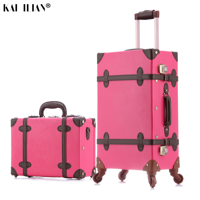 Women travel suitcase set with wheels cosmetic bag Retro spinner rolling luggage fashion girls trolley suitcase fashion leatherWomen travel suitcase set with wheels cosmetic bag Retro spinner rolling luggage fashion girls trolley suitcase fashion leather
