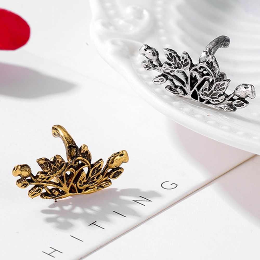 1 قطعة خمر الجوف طويل U على شكل لوتس الأذن العظام مجلد لا مثقوب الأذن أقراط مشبكية للنساء مجوهرات الأزياء الذهب الفضة اللون