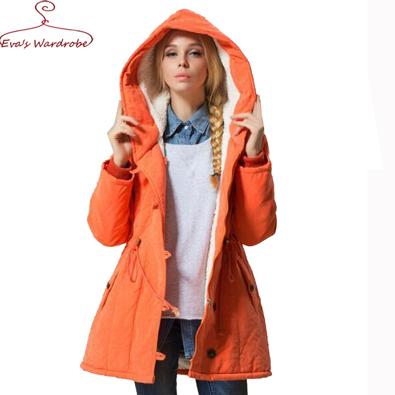 Women Wadded Parka Plus Size Winter Cotton Padded Cotton Liner Hooded Thick Medium Long Outwear Jacket