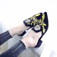 2018 3d Broderie Femmes Pantoufles Fleur Décoration Velours Mules Chaussures Femme Diapositives Appartements Sur Sandales Dames Demi Pantoufles Chaussures