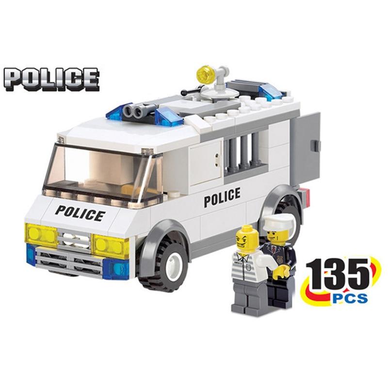 StZhou Police Series Blocks Police Custody Van 135pcs Enlighten Building Blocks Playmobil Model Bricks Toys for Children