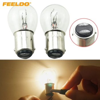 FEELDO 100Pcs 1157 BA15D P21/5W S25 12V Car Clear Glass Lamp Brake Tail Bulb Car Indicator Halogen Lamp #FD-2722