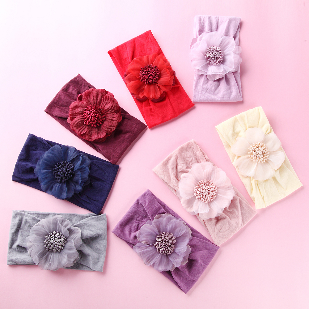24 pcs lot Big Fabric Flower on Wide Nylon Headbands Baby Girls Hair Accessories Baby Shower