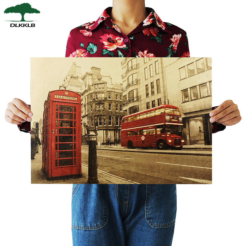 London Red Buse And Telephone Booth Kraft Paper Wall Sticker Cafe Bar Decorated Home Decor Vintage Paper Kraft Poster 51.5x36cm