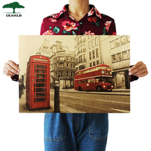 London Red Buse y cabina telefónica Kraft pegatinas para la pared de papel café Bar decoración del hogar Vintage papel cartel de papel Kraft 51.5x36cm