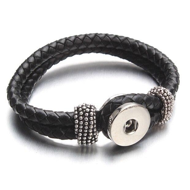 Black Leather Snap Bracelet...