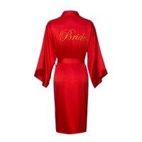 PKSAQ Bride Robe Embroidery Satin Wedding Robes Silk Night Robe Elegant Long Sleeve Bathrobe summer bridesmaid robe