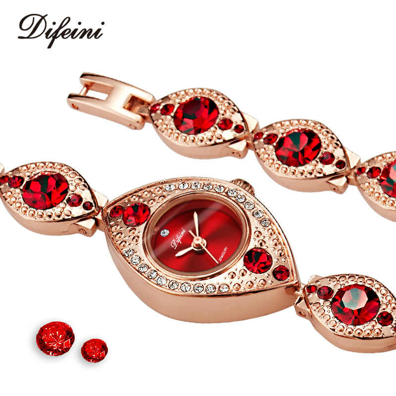 Wanita Mewah Jam Tangan Gelang Perhiasan Berlian Biru Merah Wanita Kasual Jam Steel Tahan Air Wanita Arloji Relogio Feminino