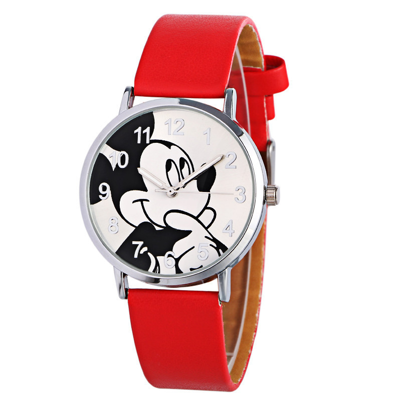 Cartoon Relogio Fashion lovely Mickey Watch Women Unisex Leather Quartz Wristwatch For Children Watches Boy Girl Favorite Gift in Women 39 s Watches from Watches