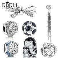 EDELL 100 925 Sterling Silver 1 1 Genuine Magic Tassel Charm Ornate Bow Beads Cute Penguin
