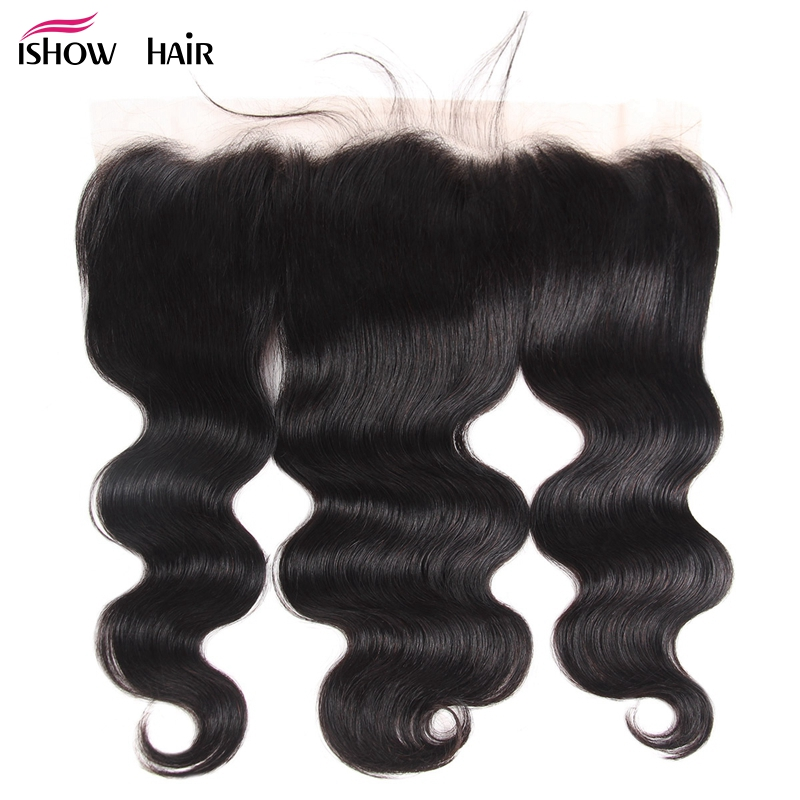 Ishow 13x4 Ear to Ear Lace Frontal Indian Body Wave Human Hair Lace Frontal Closure With Baby Hair Natural Color Non Remy-in Closures from Hair Extensions & Wigs    1