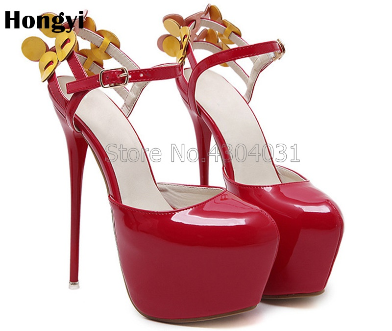 Fashion Bright Patent PU Leather Women Sandals Summer Shoes Red Black Platform Mujer Women Sandals Thin High-Heeled Shoes Woman