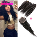 Vip Beauty Hair Brazilian Deep Curly With Closure 3 Bundles Brazillian Deep Wave Hair With Closure Tissage Bresilienne Closure