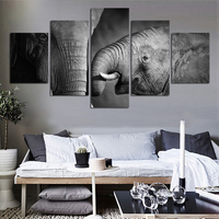 5 Pieces Canvas Art Wall Prints Painting Elephant Picture Home Decor Poster Modern Artwork for Living Room Decoration FA140