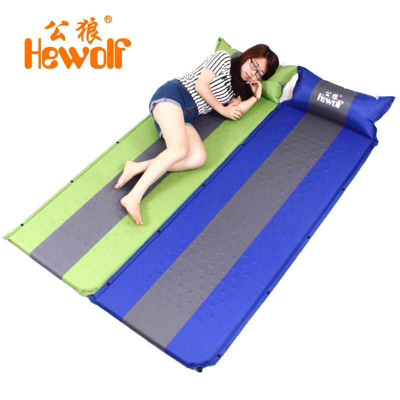 Hewolf Outdoor Automatic Inflatable Mattress Camping Mat Waterproof Cushions Inflatable Air Mattress Sleeping Pad With Pillow free shipping 10 2m inflatable air track inflatable air track inflatable gym mat trampoline inflatable gym mat