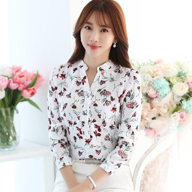 c2003398b02 New Autumn Women Shirts Full Sleeve Chiffon Tide Han Fan Blouse Shirt  Design And Color 8842