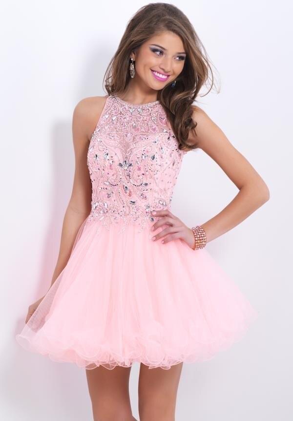 Exquisito Nueva Sexy Pink Tulle Cortos Vestidos de Fiesta de Encaje ...