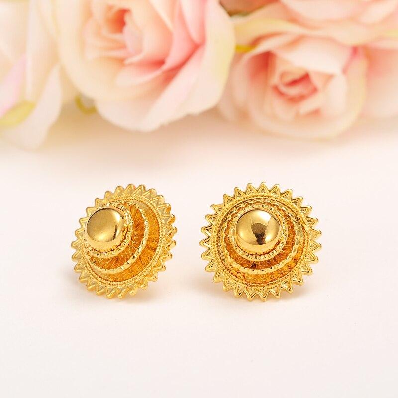 Bangrui 1cm/2cm Baby Ethiopian Earring Stud Gold Color Earring ...