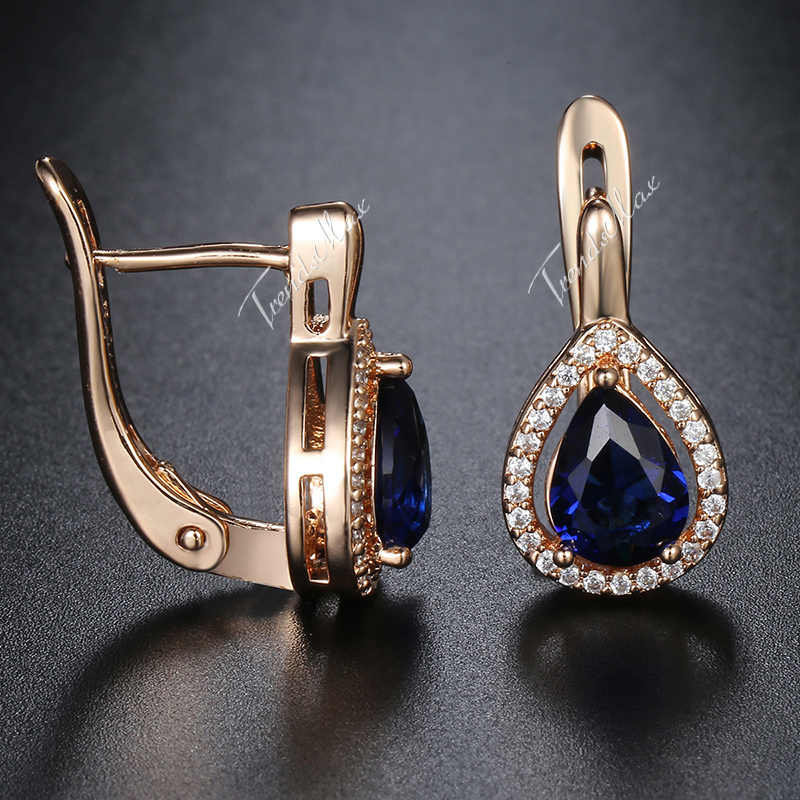 1c25562b7 ... 585 Rose Gold Filled Ladies Womens Earrings Teardrop Blue CZ Snap  Closure Paved Clear Cubic Zirconia ...