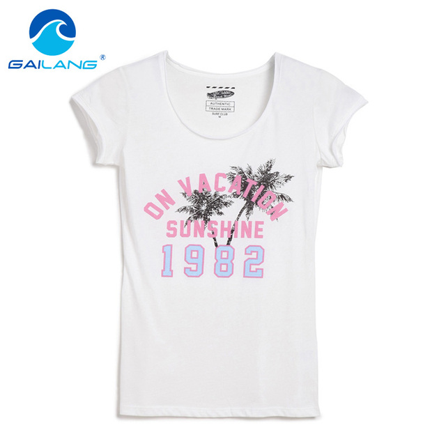 84300d6ecd366 Gailang Brand Casual T shirt Women Letter Print and Solid Color Round Neck  Pink Tops Tees Cotton Women s Fashion tshirts Apparel