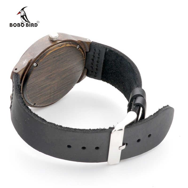 2017 Brand BOBO BIRD Black Wood Watch Men Leather Band Luxury Gift Watches relogio masculino C-F04