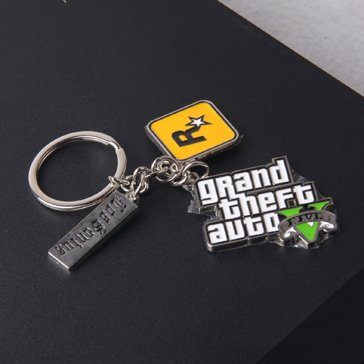 Game Grand Theft Auto V GTA 5 GTA V Keychain Metal Cosplay Keyring Pendant Collectibles  ...