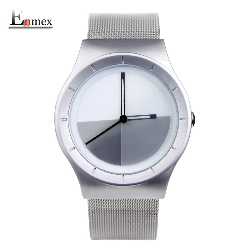 2017 men's gift Enmex unique design leather creative dial Changing patterns simple fashion for young peoples quartz watches 2017lady gift enmex design silicone strap creative changing patterns dail japanese style simple quietly elegant quartz watches