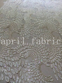 XX001 cream white angle wing pattern glued glitter flower fabric for sawing/wedding design/party dress