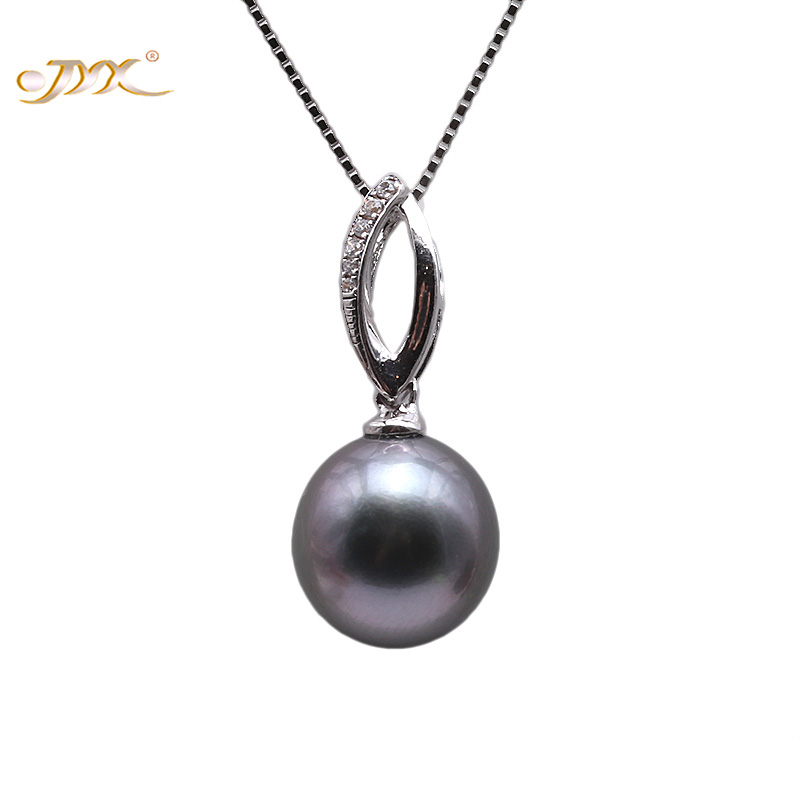 JYX Exquisite 9.5mm Black Tahitian Pearl South Sea Cultured Pendant in 925 Sterling Silver 18 inches jyx pearl silver 925 jewelry genuine 12 5mm oval golden south sea cultured pearl 925 pendant necklace in sterling silver 18