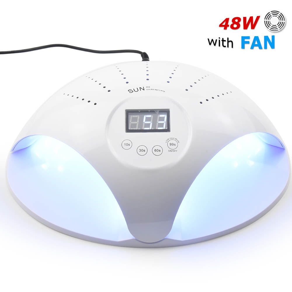 SUN669 48W UV LED  Lamp Ice Lamps Nail Gel Polish Dryer Manicure Drying Machine for Two Hands With Fans all gel nails Art-in Electric Manicure Drills from Beauty & Health