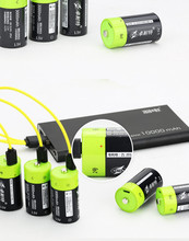 купить ZNTER 6pcs 1.5v Lithium li-polymer 3000mAh C size rechargeable battery USB C type Li-ion powerful battery + USB charging cable дешево