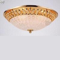 Ronda de cristal lámpara del dormitorio moderno minimalista lámpara de luz amarilla Luces de Techo de oro patrón de opción múltiple Lmy-0195