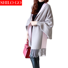 HOT 2016 Autumn New Women's Elegant Socialite Cashmere Tassel Cardigan Sweaters Batwing Sleeves Scarf Cape Outwear Good Quality