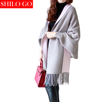 HOT 2017 Autumn New Women's Elegant Socialite Cashmere Tassel Cardigan Sweaters Batwing Sleeves Scarf Cape Outwear Good Quality