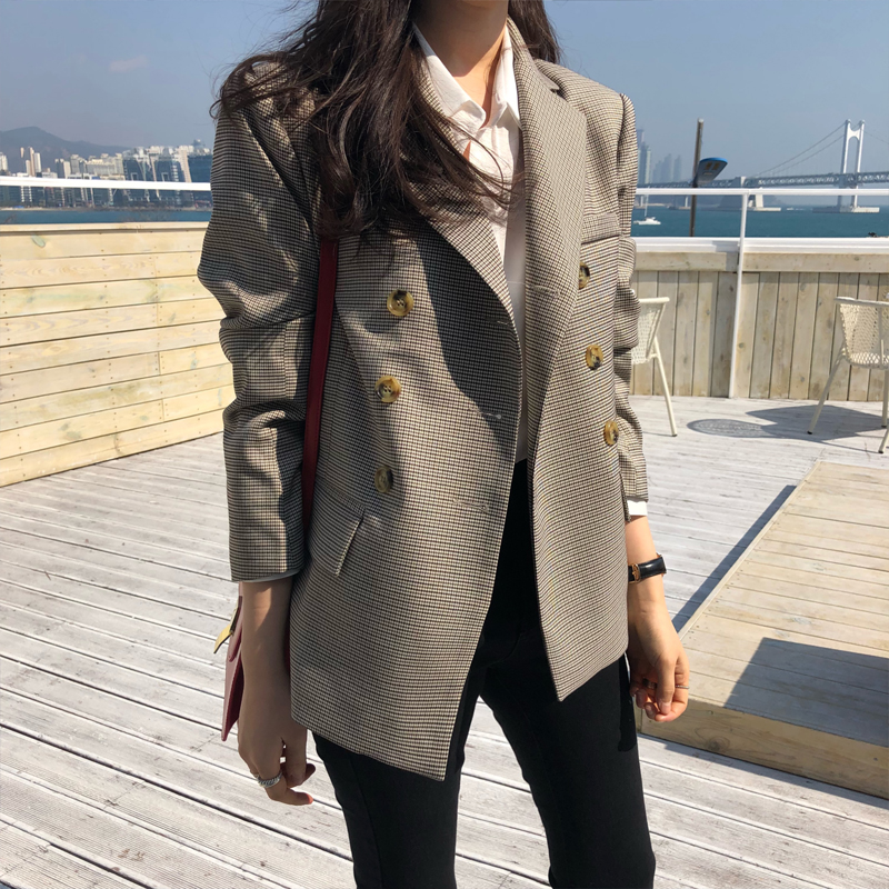 BGTEEVER Classic Plaid Double Breasted Women Jacket Blazer Notched Collar Female Suits Coat Fashion Houndstooth 2019 Autumn