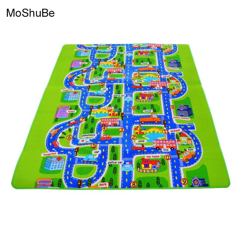 4 sizes0.5 cm gruesa ciudad manta tráfico bebé gateo alfombra EVA espuma escalada camino verde alfombra de juego para bebé