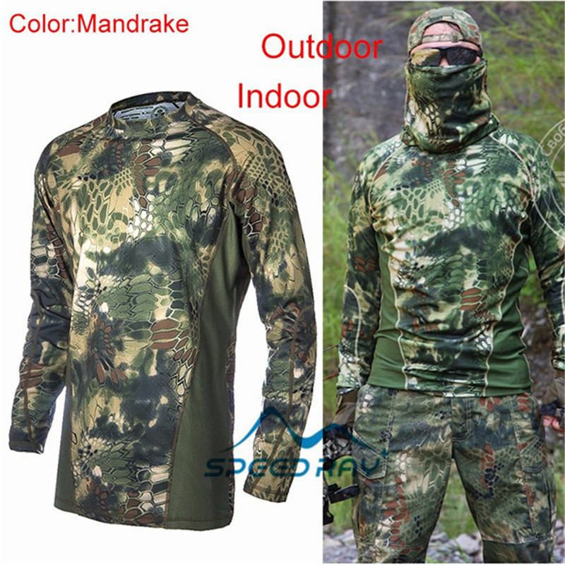 Military Kryptek Camouflage Tactics Hunting Clothes Air Softs Ports T-shirt Tactical Sniper Suit Paintball Wargame Gear