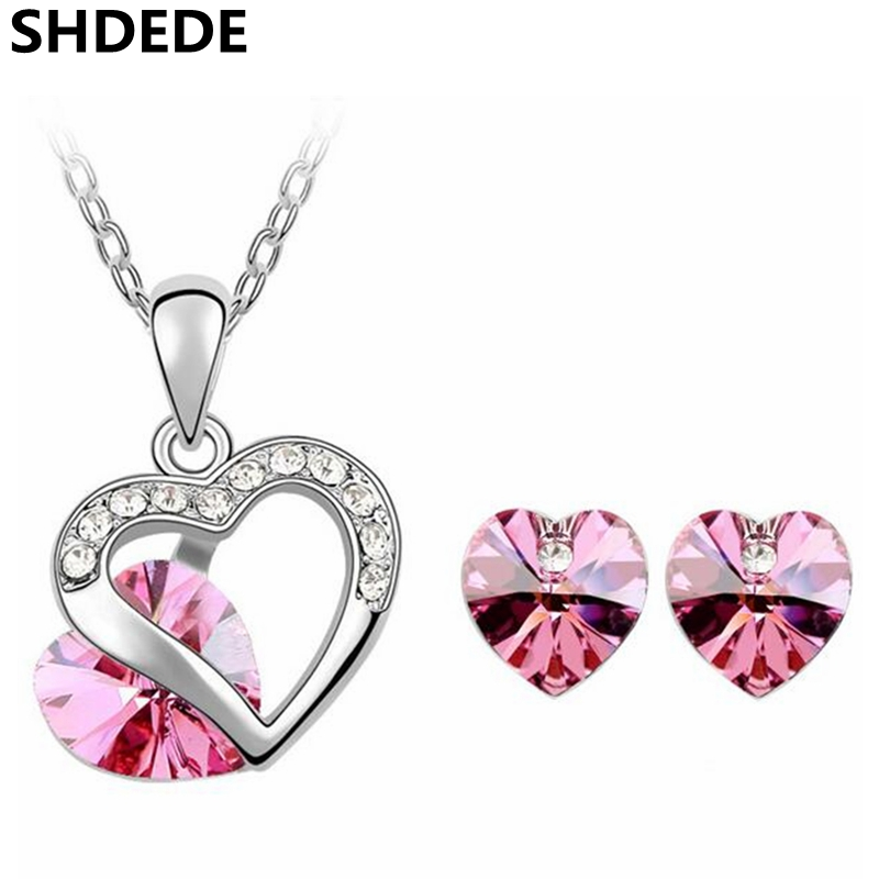 Austrian Crystal Heart Pendant Necklace Earrings Stud Crystal from Swarovski Exquisite Jewelry Sets For Women 4351