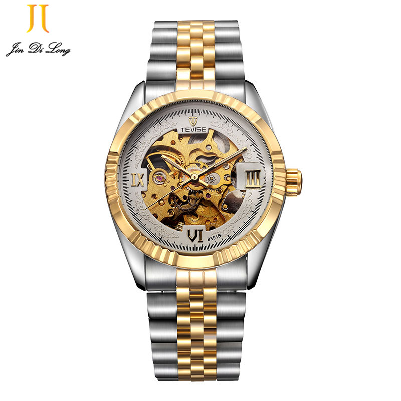TEVISE Mens Watches Brand Watch Skeleton Automatic Self Wind Business Mechanical Steampunk Wristwatch Relogio Masculino Xmas binger skeleton tourbillion mechaniccal watches relogio self wind luxury full steel strap business mens mechanical watch 2017