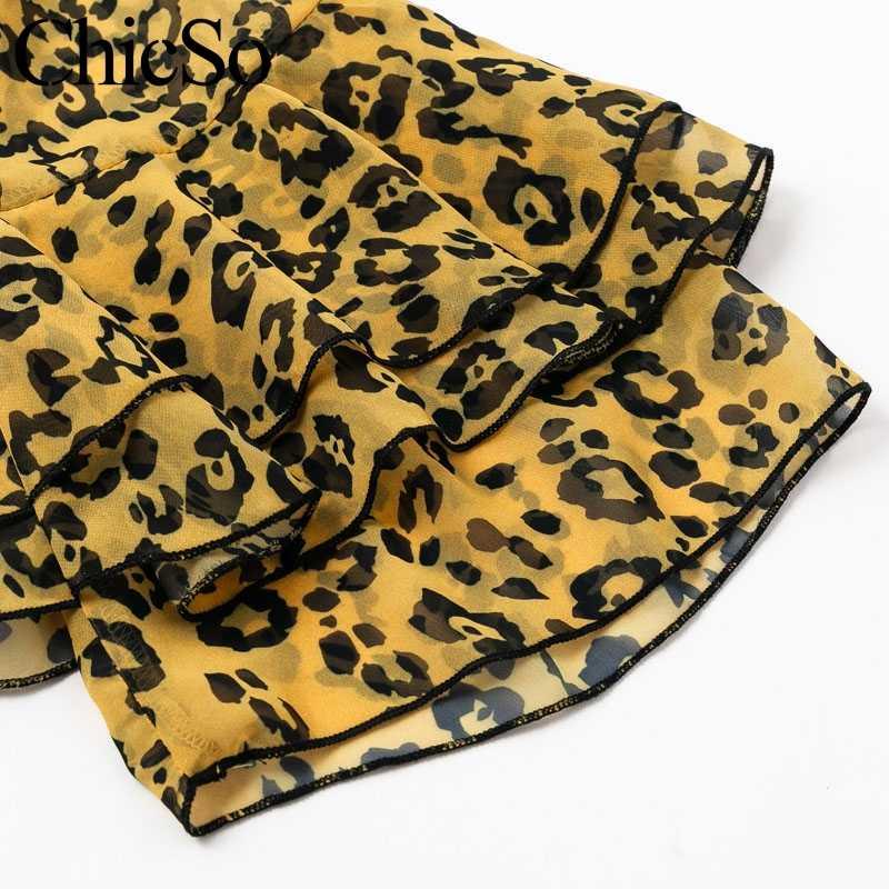 Missychilli шифон Леопардовый принт Женский Игровой костюм холодное плечо v-образный вырез гофрированный сексуальный комбинезон вечерние повязки Летний комбинезон Комбинезоны