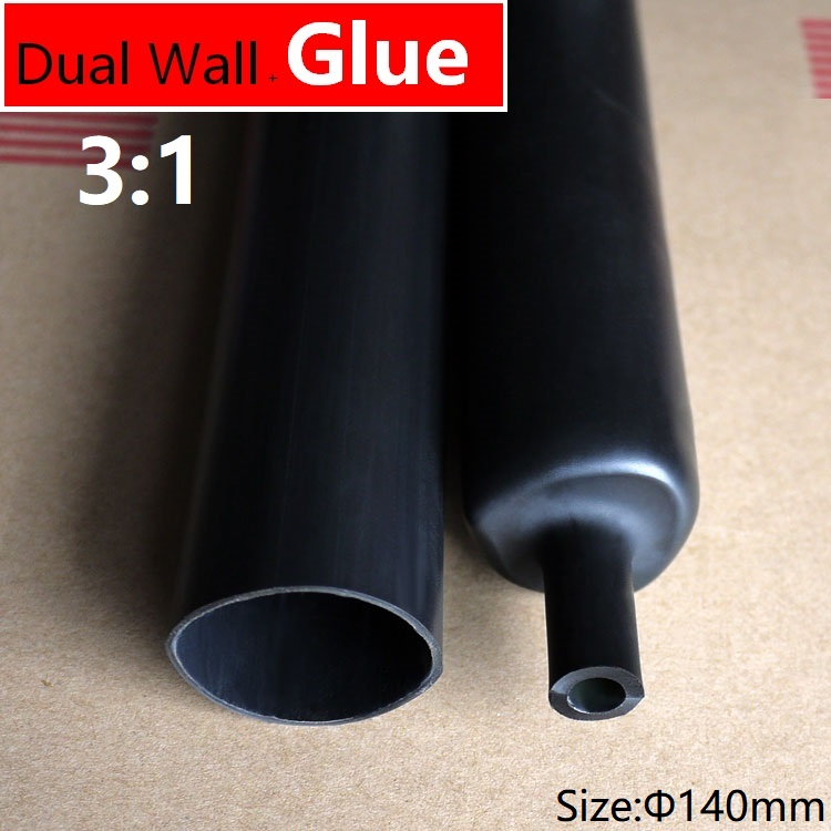 1.22m 140mm Diameter Pe 3:1ratio Heat Shrink Tube Adhesive Lined Dual Wall With Thick Glue Wire Wrap Waterproof Kit Cable Sleeve Demand Exceeding Supply