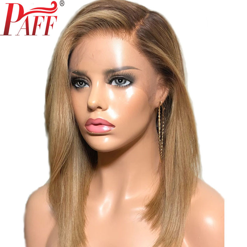PAFF Ombre Honey Blonde 4/27 Straight Human Hair Wig Brazilian Remy Preplucked Full Lace Wig Glueless Baby Hair For Women