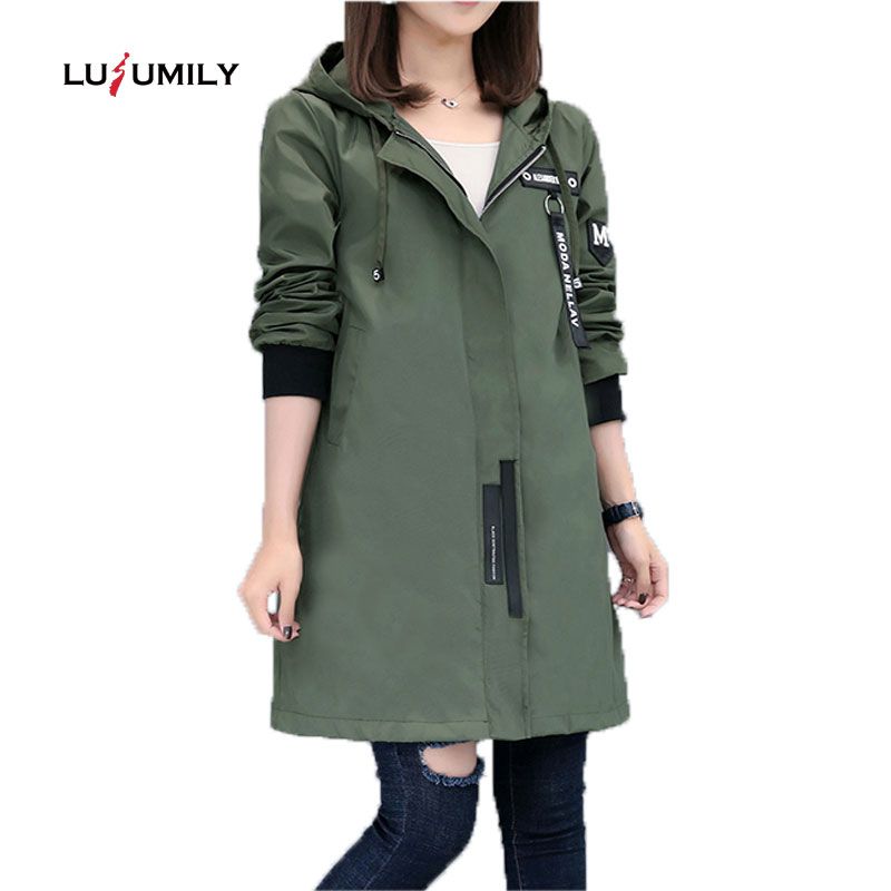 Lusumily Long Jacket Women Windbreaker Street Fashion Baseball Casual Outwear Black Female Long   Coat   Hooded Srping Autumn Jacket