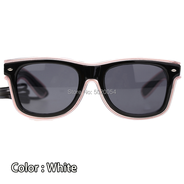 10 Colors Fashion EL Wire Neon LED Sunglasses Bar Party Dance DJ Bright Flashing Sun Glasses Men Light Up Eyewear