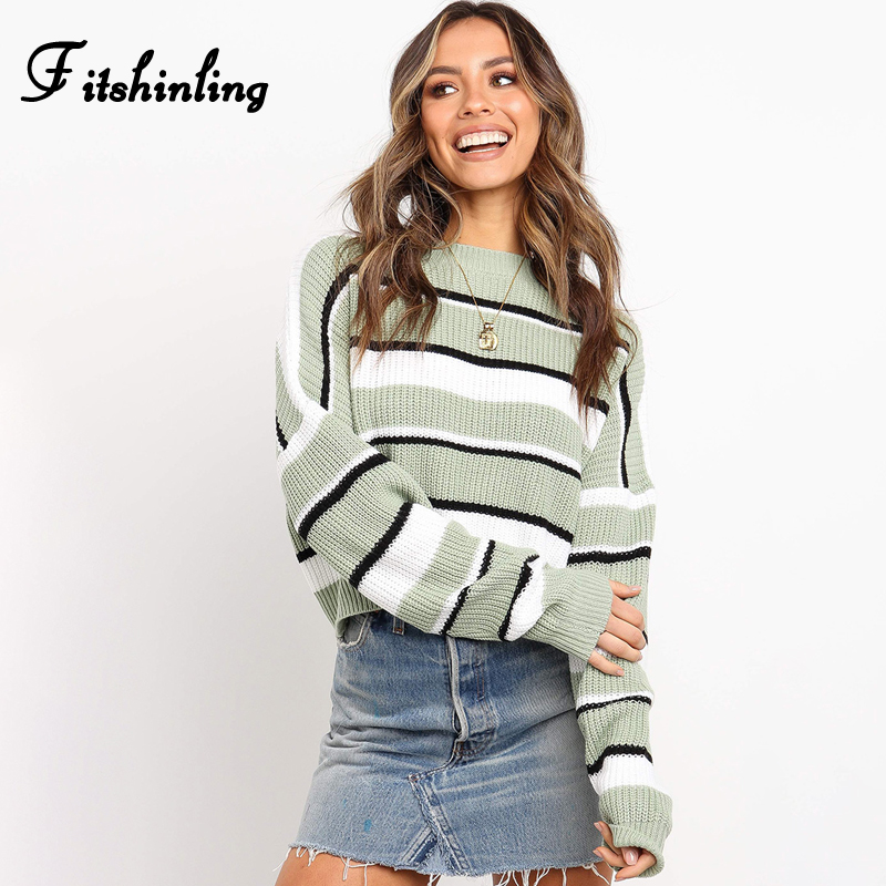 Fitshinling 2019 Autumn Knit Sweater Women Clothing Striped Casual Long Sleeve Basic Ladies Sweaters Pullovers Winter Jumpers in Pullovers from Women 39 s Clothing