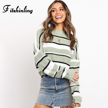 Fitshinling 2019 Autumn Knit Sweater Women Clothing Striped Casual Long Sleeve Basic Ladies Sweaters Pullovers Winter Jumpers