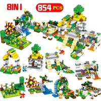 854 PCS Building Blocks Sets Compatible Legoingly Minecrafted Farm Town Waterfall Figures Bricks Educational Toys For Children