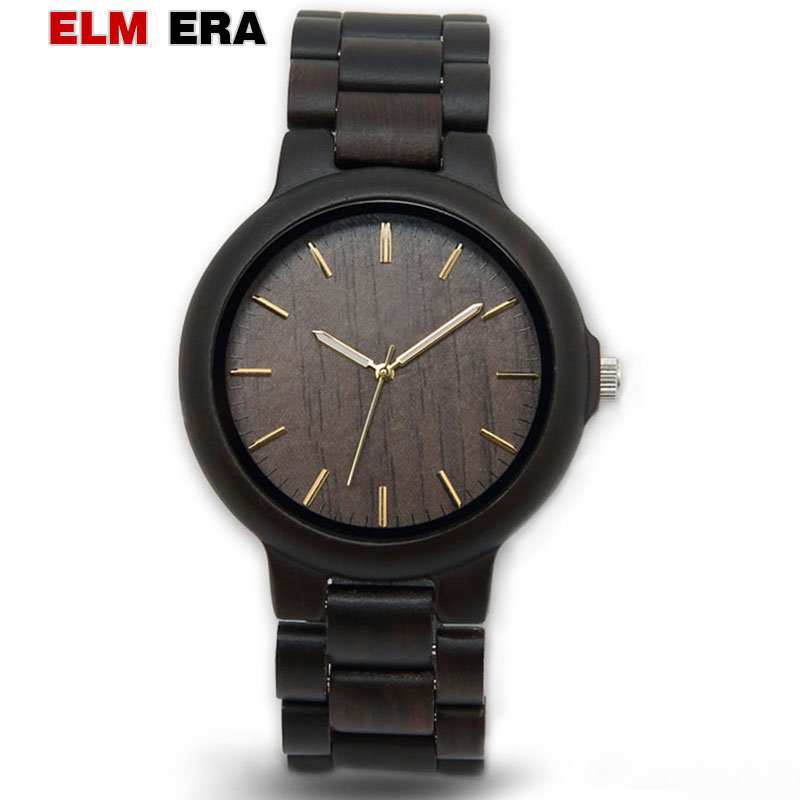 ELMEAR Wooden Watch Male Mens Watches Automatic Wristwatch Luxury of Plaid Black Relogio Masculino